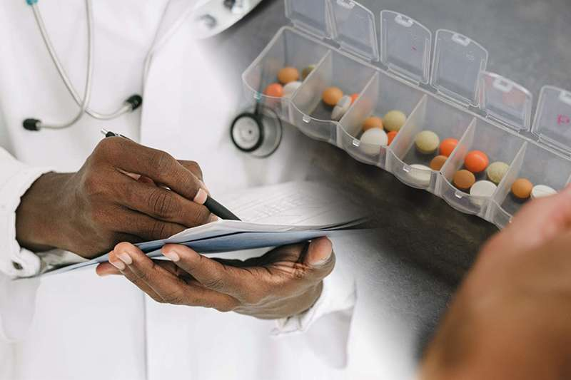 Doctor writing and medication container composite image